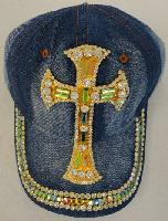 Denim Hat with Bling [Large Cross] Gold